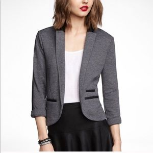 Express Knit Blazer Leather Black Grey Size M